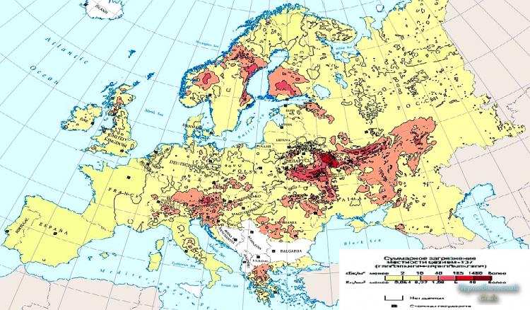 Карта заражения после аварии на ЧАЭС