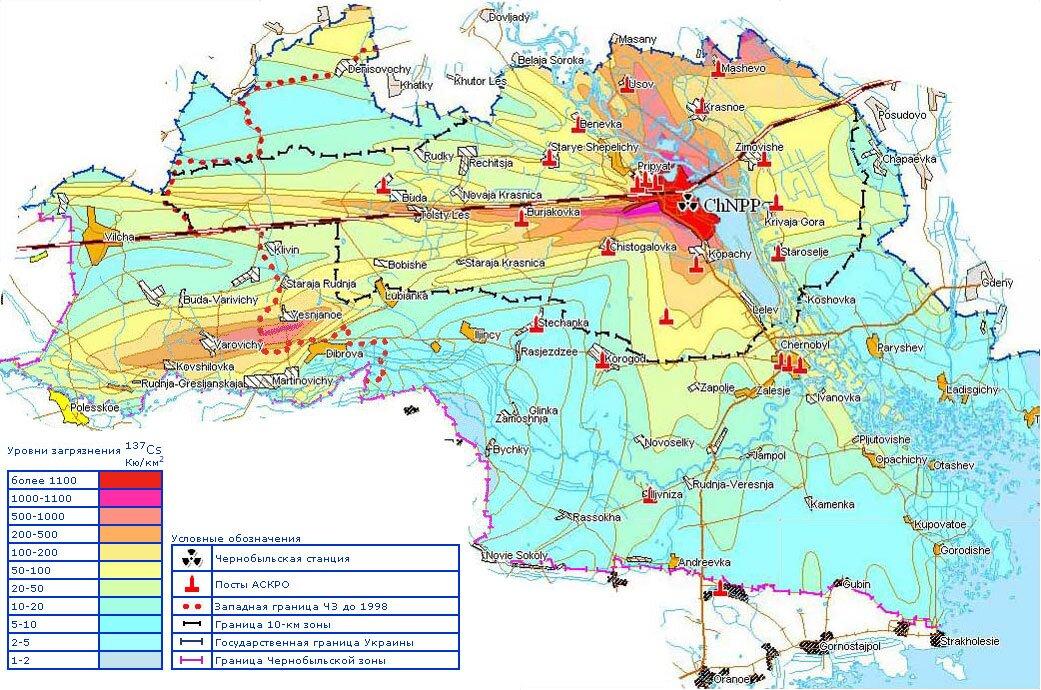 Карта поражения после аварии на ЧАЭС