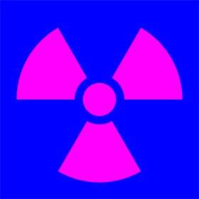 Знак радиации, символ радиоактивного заражения, старый знак радиации, пурпурно-синий символ