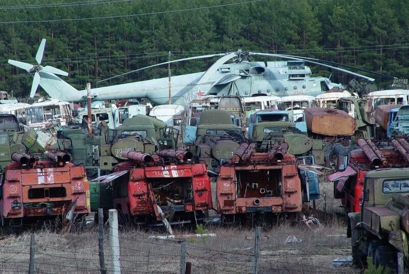 Заброшенная техника Чернобыля фото